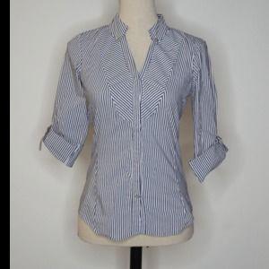 Zara Blue White Striped Button Down